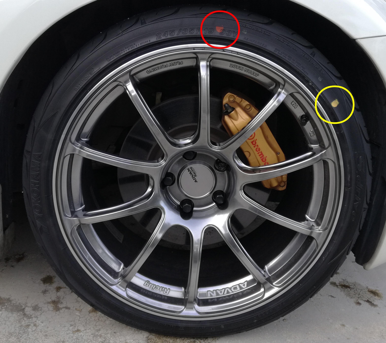 新品タイヤにある赤丸と黄丸の意味は?マークを消す方法は?